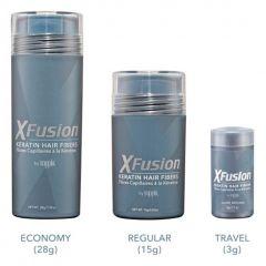 Keratin Hair Fibers come in Economy (28 grams), regular (15 grams) and travel (3 grams) sizes.
